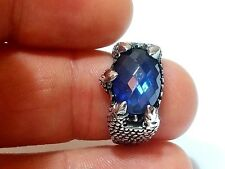 Turkish Claw Natural Faceted Sapphire Gemstone 925 Sterling Silver Men Ring