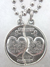 "Mizpah Medal Coin Pendant Necklace Set For Two 24"" Stainless Steel Ball Chains"
