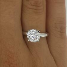 3 Ct 4 prong Solitaire Round Cut Diamond Engagement Ring VS2 D White Gold 14k