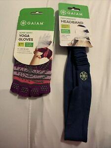 gaiam yoga gloves and headband set