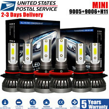 MINI Combo 9005 9006 H11 LED Headlight Kit 2100W 66000LM Hi-Low Beam Bulbs 6000K