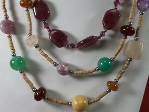 2 Vintage GEMSTONE ART GLASS NECKLACES Garnet Purple Multicolor Toggle TS1762