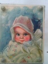 Maud Tousey Fangel Litho Print Baby Bunting Hardware Glass Framed