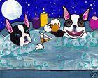 BOSTON TERRIER Hot Tub Dog art PRINT of Painting VERN