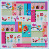 BonEful Fabric FQ Cotton Quilt Dot Block Butterfly Bird Ladybug Flower Pink Baby