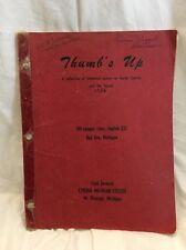 RARE Thumb's Up Huron County, MI Original Manuscript Historical Essays 1956 Book
