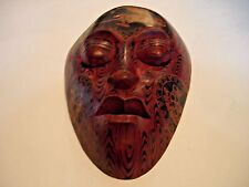 Indonesian Ethnic Wood Mask Hand Crafted Carved Painted Wall Art Home Decor
