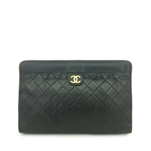 CHANEL Quilted Matelasse Lambskin CC Logo Clutch Bag Black /A1864