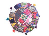 Indian Embroidery Patchwork Floor Pillow Meditation Round Cushion Cover Decor
