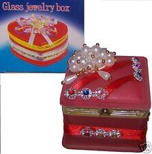 Portagioie Glass Jewelry Box Vetro rosa Decorato Perle bianco vario Nastro rosso
