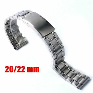 20mm/22mm Wrist Watch Strap Silver Stainless Steel Replacement Bracelet Band
