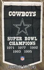 Dallas Cowboys Black NFL Super Bowl Championship Flag 3x5 ft Banner Man-Cave NEW
