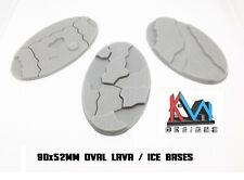 3D Printed - 90x52mm Scenic Lava / Ice / Earth Oval Bases - Set of 3