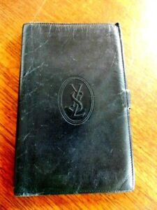 YSL YVES SAINT LAURENT VINTAGE SOFT BLACK LONG LEATHER WALLET 18X11.5 CMS USED
