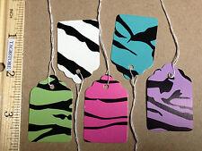 Lot 100 Zebra Designer Print Paper Merchandise Price Tags w/ White String craft