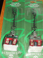 Dept 56 Village Mercury Glass Ornaments~ House Lot of 2... NEW IN PACKAGE