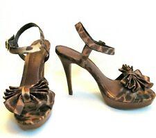 ed30d23015 GIANNI BINI 8M High Heel Platform Dress Sandals Leopard Bow 8 M Pin Up VLV