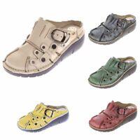 Damen Leder Clogs Sabot Schuhe Slipper Pantolette Sandalen TMA 8890 Gr 36-42 Neu