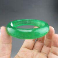 """58mm Certified Grade """"A"""" Natural Green Jadeite Jade Gems Bangle Bracelet V100"""