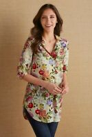 Soft Surroundings Botanica Tunic XL Floral Long Sleeve Silk Blend