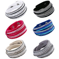 Rhinestone Leather Wrap Bracelet Crystal Multi layer Bangle Women/Men Waistband