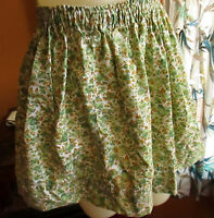 XS~S 22-24W COUNTRY GREEN VTG 70s HOME MADE HIPPIE FLORAL ELASTIC WAIST SKIRT