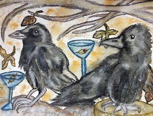 Crow Drinking a Martini Fall Birds Pop Folk Art Print 5x7 Signed by Artist KSams