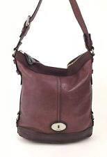 FOSSIL Maddox Large Deep Red Purple Leather Bucket Shoulder Bag