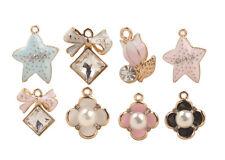 10PCS Mixed Lots of Faux Pearl Clover Rhinestone Bowknot Starfish Charms