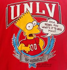 Vintage 1990 - The Simpsons - Bart Go Rebels Unlv T-Shirt M Basketball Runnin'