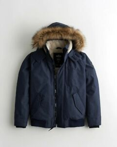 New Men's Hollister Fur Lined Bomber Jacket £99 All Weather Wind Water Resistant