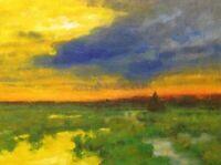 New Twilight Color Pop Realism Landscape OIL PAINTING ART IMPRESSIONIST Original