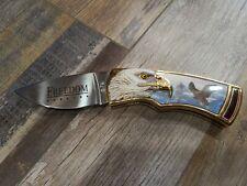 """Franklin Mint Pocket Knife Bald Eagle """"Freedom"""" W/Case"""