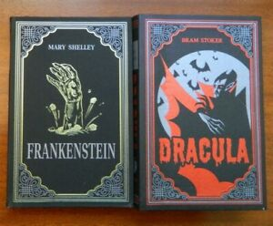 Dracula Bram Stoker/Frankenstein Mary Shelley suede covers w/ribbon markers