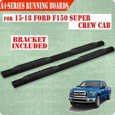 """Fit 15-18 Ford F150 Super Crew Cab 4"""" Running Board Nerf Bar Side Step BLK A"""