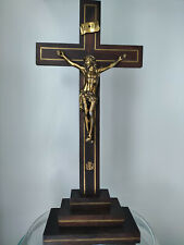 Large Christian Altar Wooden Cross / Crucifix Vintage c.1950