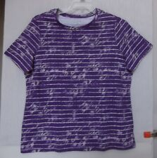 Studio Works Size 1X Abstract Striped knit top, short sleeve, Purple & white NWT