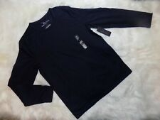 New Marc Anthony Slim Fit Knit Terry Crewneck Tee Mens Large L Navy Long Sleeve