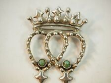 Scottish Luckenbooth Crown turquoise Broche Sterling Silver Taxco Mexico