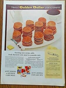 1957 Pancake & Corn Meal Ad Quaker Corn Meal & Jemima