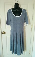 Lularoe Nicole Dress NWT Size XL Plus Size Heathered Grey White Trim