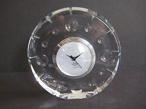 Lenox Ovations Moonlight LG Round Heavy Lead Crystal Desk Clock, Never Used