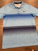 Nike Golf Standard Fit Dri-Fit Short Sleeve Polo Shirt Blue Striped Large L EUC