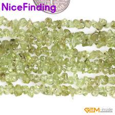 "3-5mm Natural Green Peridot Chips Freeform Stone Beads Jewelry Making 34"" DIY"
