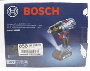 "Bosch GSR18V-190B22 18V Compact 1/2"" Drill /  Driver Kit w/ 2-Slimpack Batteries"