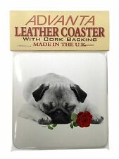 Pug (B+W Photo) with Red Rose Single Leather Photo Coaster Animal Br, AD-P92R2SC
