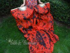 + bag! 2pcs=1set 6ft black+red tie-dye belly dance silk fan veil, free shipping!