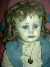 Early Alabama Ella Smith oil painted cloth doll Rare bare feet, wigged ~some Tlc
