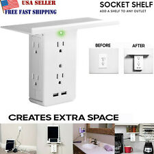 Socket Shelf- 8 Port Surge Protector Wall Outlet 6 Electrical Outlet Extenders