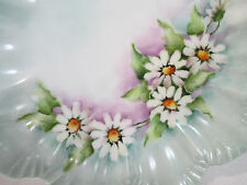 Hand Painted Plate Daisy Flowers Scallop Edge Vintage Porcelain Cabinet Display